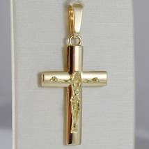 SOLID 18K YELLOW GOLD CROSS JESUS WORKED, SQUARED STYLIZED SMOOTH, MADE IN ITALY image 1