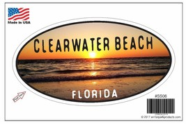 Clearwater Beach Florida Oval Bumper Sticker SS06 Wholesale - $2.99+