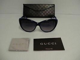 Originale Gucci Nuovo Sole Donna Occhio di Gatto Blu Violetto Gg 3510S W... - $236.06
