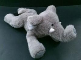 Goffa Elephant Plush Stuffed Animal Beanie Toy Lays Flat Gray  - $12.86