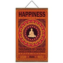 WEROUTE Buddha Wall Art Art Zen Decor Printed on Canvas with Scroll Wood Frame H
