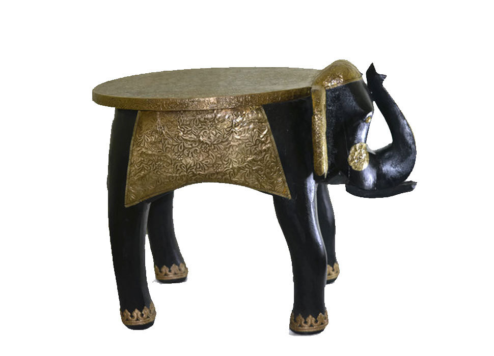 "Wooden Handicraft Brass Work Large Stool Elephant Home Decor 15"""