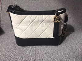 AUTHENTIC Chanel 2018 BLACK White Quilted Leather Small Gabrielle Hobo Bag GHW