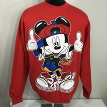 Vintage Mickey Mouse Sweatshirt Disney 90s Hip Hop Crew Medium World Large - $49.99