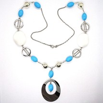 925 Silver Necklace, White Agate Crimped, Turquoise, Oval Pendant, 70 cm image 2