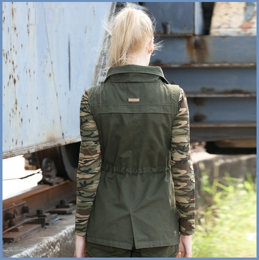 Army Green Cotton Denim Zip Up With Adjustable Drawstring Waist Vest Jacket