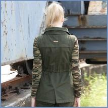 Army Green Cotton Denim Zip Up With Adjustable Drawstring Waist Vest Jacket   image 2