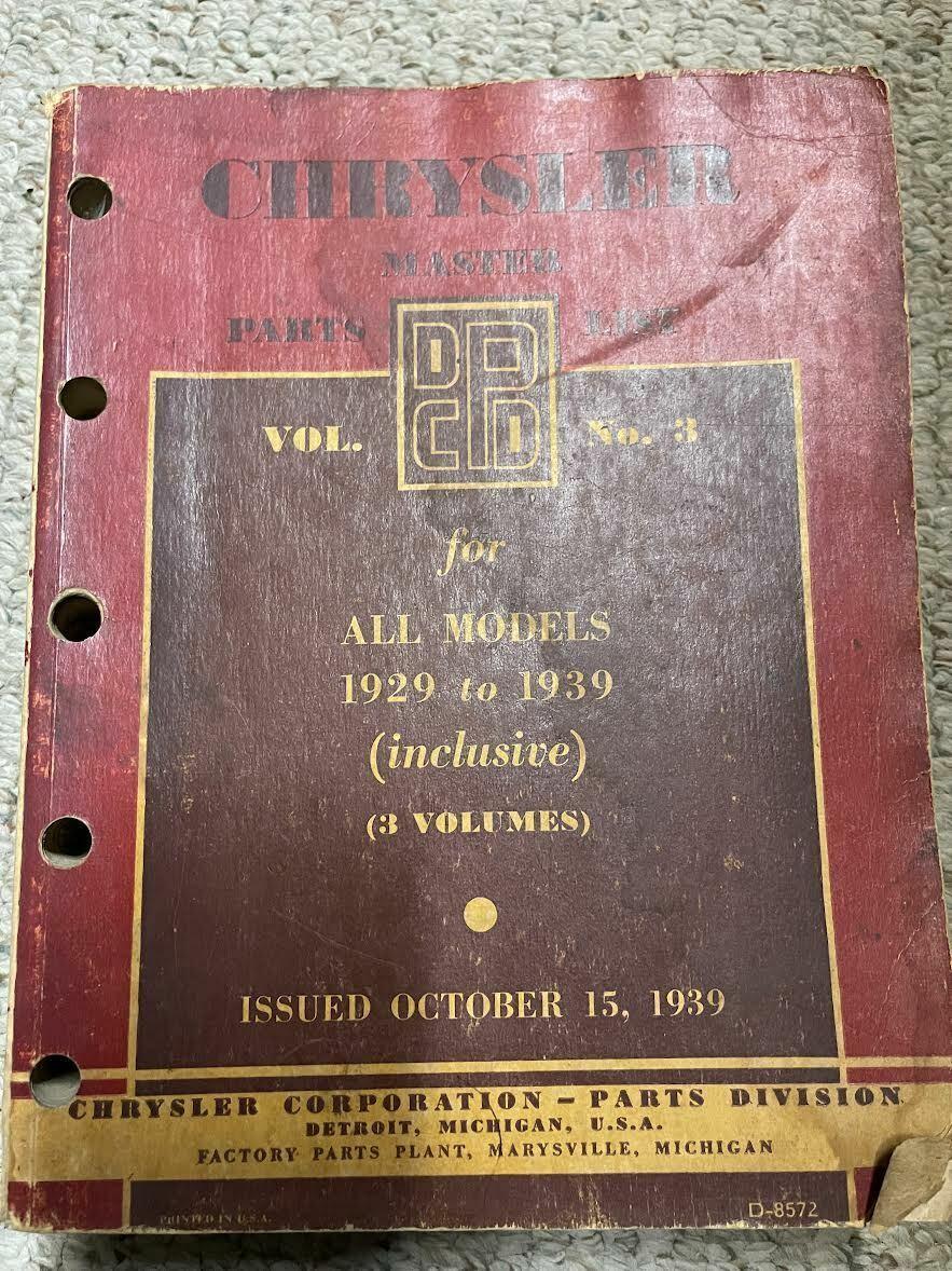 1929 1930 1931 1933 1935 1937 1938 1939 chrysler master parts list book volume - $69.18