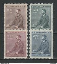 1942 Hitler Birthday Set of 4 Bohemia Moravia Stamps Catalog Number B9-12 MNH