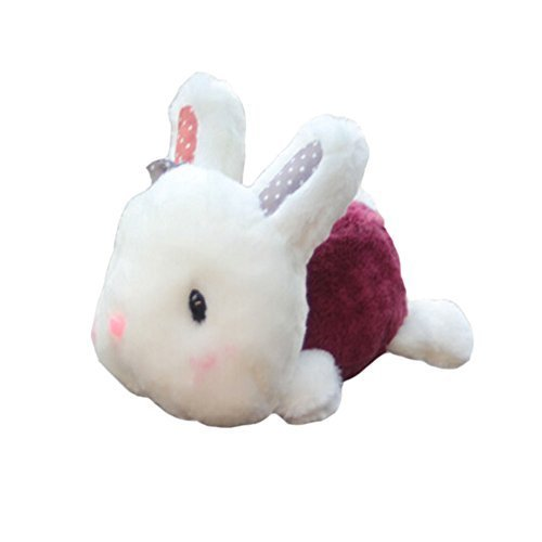 Lying Bunny Plush Dolls Car Decors Bamboo Charcoal Auto Ornaments,WINE RED,11''