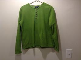 Lands' End Women's Size M 10 - 12 Henley Sweatshirt Top Faux Fleece Kermit Green