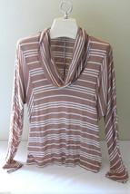 NWT Splendid Tan White Striped Cowl Neck Supima Cotton Modal LS Top Shir... - $56.00