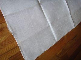 Large vintage antique Irish linen damask hand towel Celtic clover tea dish 40X17 image 4