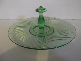 Hocking Glass Green Depression Spiral Center Handle Serving Tray Plate S... - $14.01
