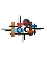 Contemporary Wood and Metal Wall Sculpture 54x34, Abstract Wall Art - $346.49