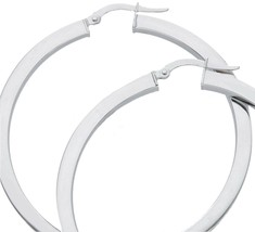 18K WHITE GOLD CIRCLE EARRINGS DIAMETER 40 MM WITH SQUARE TUBE     MADE IN ITALY image 2