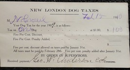 1910 antique NEW LONDON PA DOG TAX PAPER owned N.CROWL - $24.95