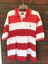 Tommy Hilfiger Red White Orange Striped Polo Size XL 2 Button Rugby Shir... - £7.75 GBP