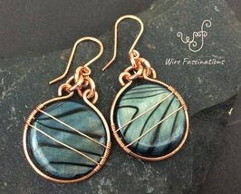 Handmade Copper earrings: circle frame wire wrapped striped blue river s... - $26.00