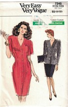 7245 UNCUT Vogue Sewing Pattern Misses Loose Fitting Straight Dress Tuni... - $7.92