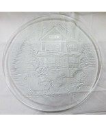 Vtg Christmas platter clear glass home decor house tree snow carriage  - $9.89
