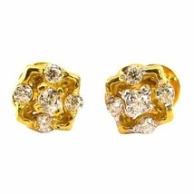 Ethnic Indian CZ Studded EAR Studs PAIR 14k Solid Real Gold Screw Back - $111.15