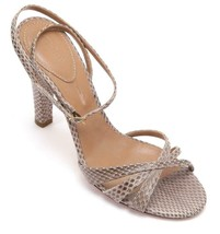 CHLOE Sandal Taupe Leather Exotic Skin Peep Toe Ankle Strap Heel Shoes Sz 38 - $185.25
