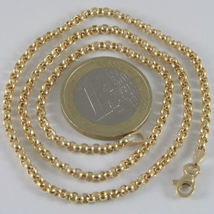 18K YELLOW GOLD CHAIN ROUNDED ROLO ROUND LINK, CIRCLES NECKLACE, MADE IN ITALY image 4