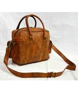 Vintage Goat Leather Duffel Bag Genuine Handmade Travel Gym Brown Duffle... - $73.74
