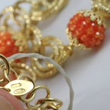 Silver Necklace 925 Yellow Gold Plated Circles Worked with Spheres Carnelian image 6