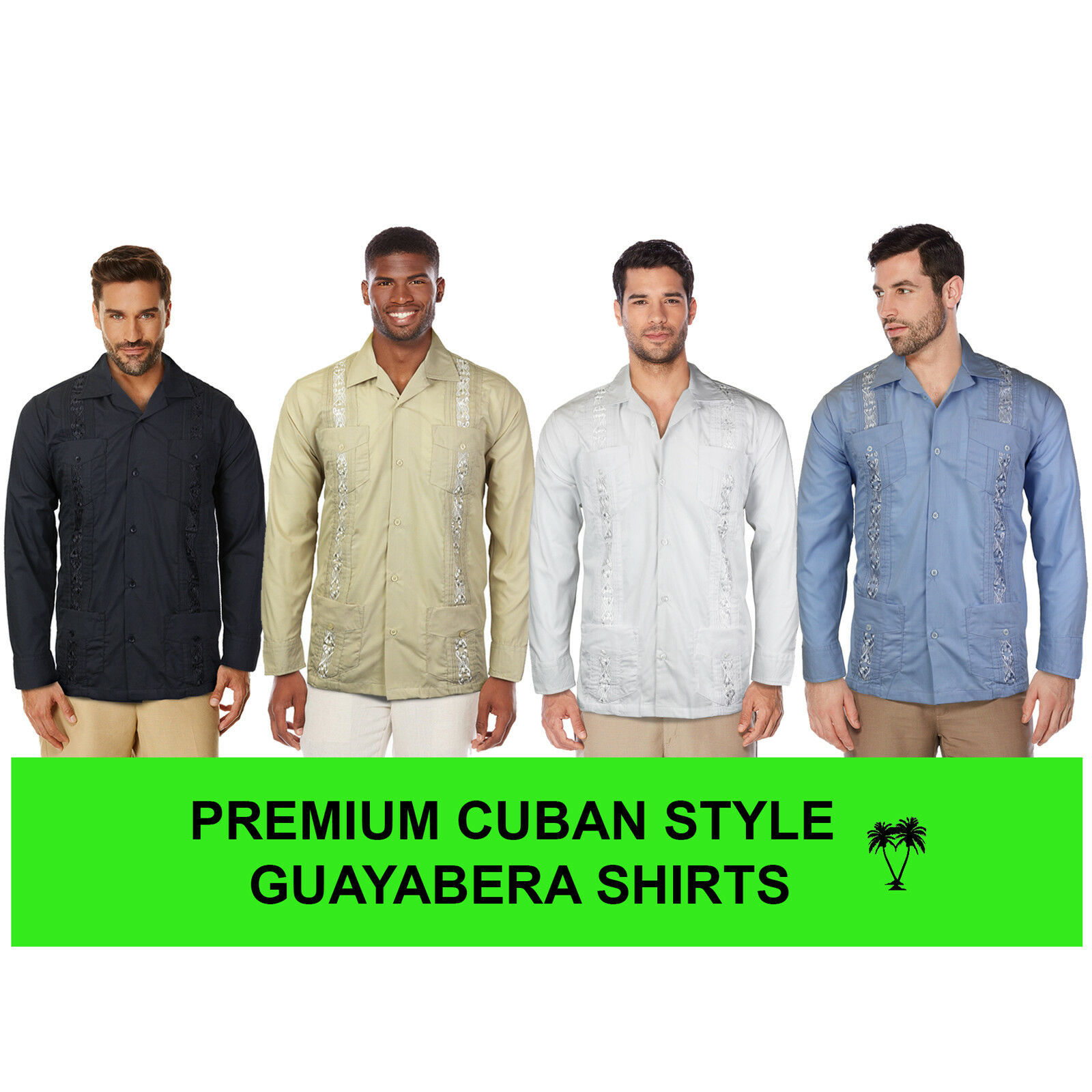 Men's Beach Guayabera Casual Cuban Wedding Button-Up Long Sleeve Dress Shirt