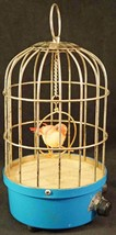Vintage Music Antique Finish Chirping Bird Automation Birdcage Made in J... - $89.50