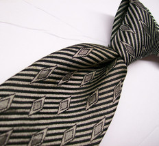 Vtg COUNTESS MARA Gray Diamonds & STRIPES   Mens 100 SILK Necktie  11-15* - $15.99