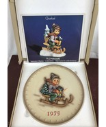 Vintage Hummel Plate 1975 Annual Ride Into Christmas Bas Relief w Box Go... - $11.30