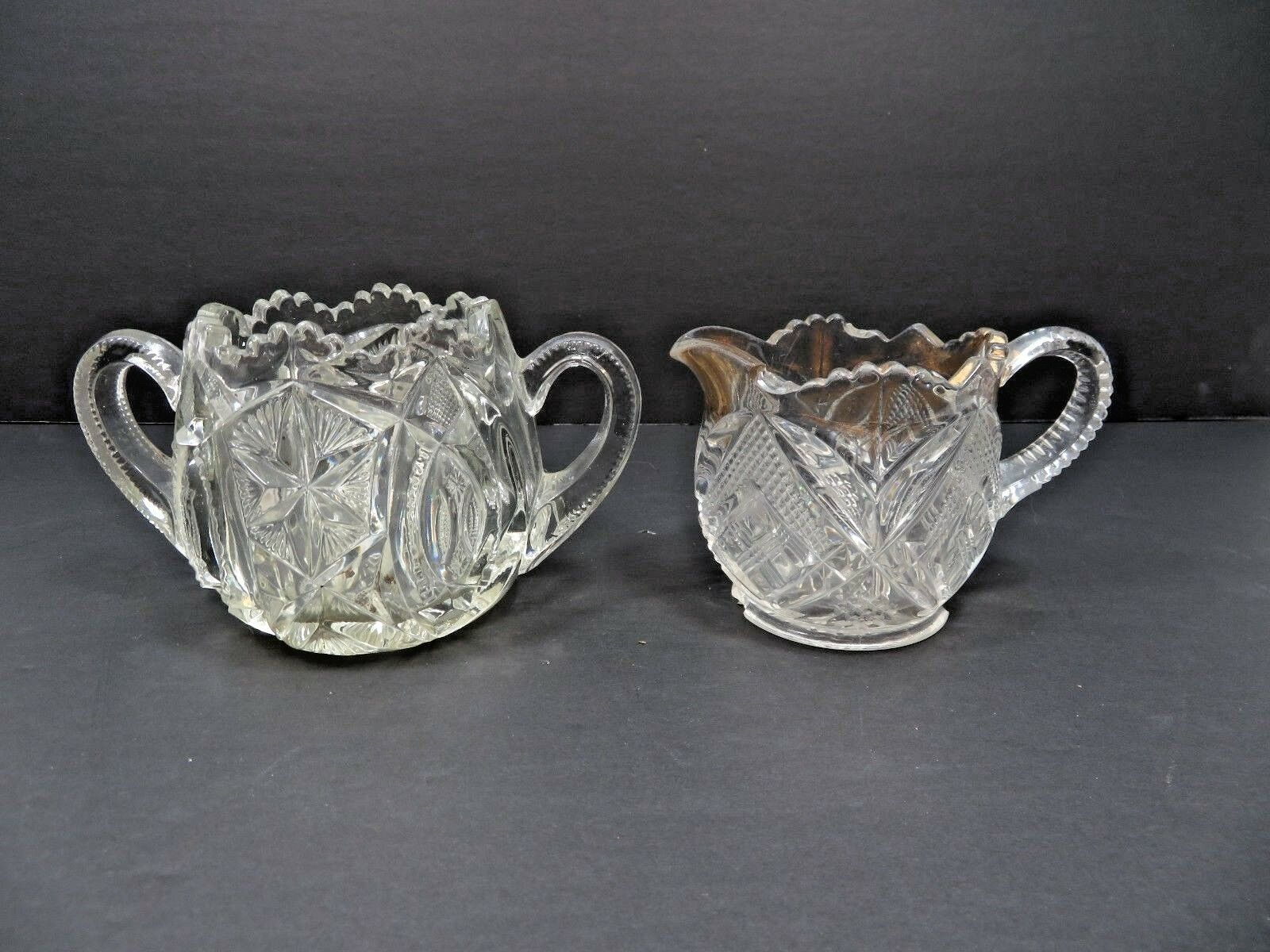 Primary image for Vintage Mid Century etched Elegant Heisey glass creamer sugar set