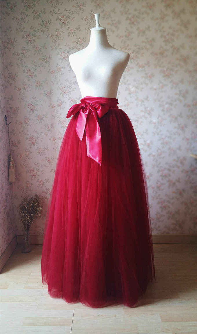 Wine Red Burgundy Maxi Tulle Skirt Women Puffy Maxi Tulle Skirt Red Bridesmaids