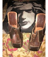 BAKERS Italy Smooth Chocolate Patch Leather Clogs Size 8 - $24.75