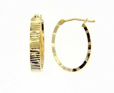 18K YELLOW GOLD OVAL HOOP EARRINGS 22 x 4 MM WORKED KNURLED WAVE MADE IN ITALY
