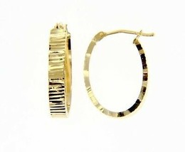 18K YELLOW GOLD OVAL HOOP EARRINGS 22 x 4 MM WORKED KNURLED WAVE MADE IN ITALY image 1