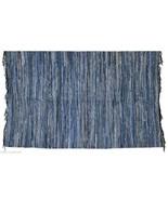 Blue Denim Jeans Rag Rug Dhurry Recycled Floor Carpet Dhurrie India FH88 - $94.05
