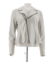 H Halston Pearlized Lamb Leather Motorcycle Jacket Platinum 16 NEW A287143 - $178.18