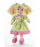 "Adorable Apple Dumplin' Cloth 14"" Doll by Delton - Green Flower Dress - €24,46 EUR"