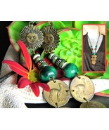 Vintage Necklace Peruvian Peru Sol De Oro Coins Bead Sun Llama Leather - £14.49 GBP