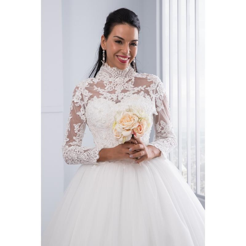 High Neck IIIusion Back Long Sleeve Wedding Dress Lace Ball Gown Wedding Gowns image 6