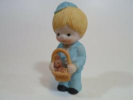 Country Cousins Figurines Enesco Vintage Porcelain Easter basket rabbit - $9.95
