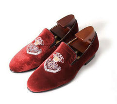 Handmade Men's Red Fashion Embroidered Slip Ons Loafer Suede Shoes image 1