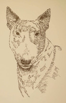 Bull Terrier Dog Art Portrait Print #50 Kline adds dog name free. WORD D... - $49.95