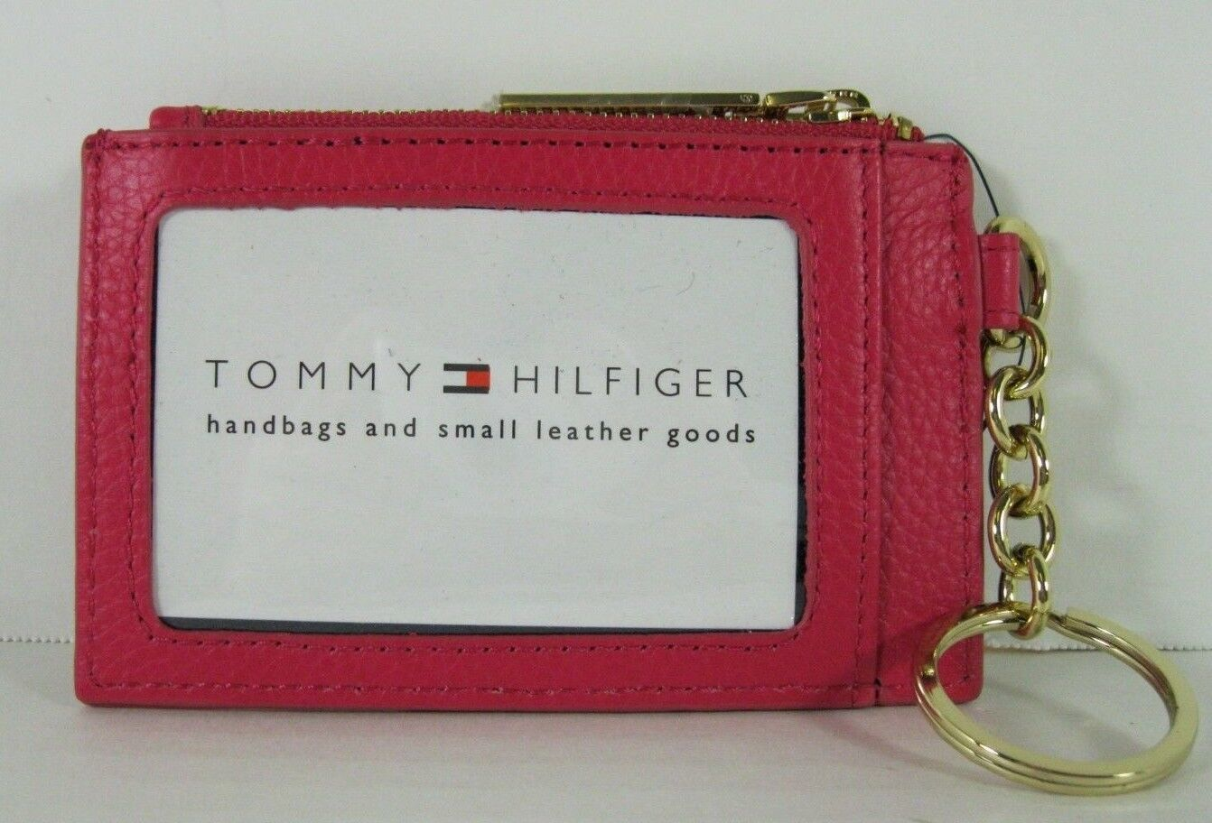 Tommy Hilfiger Nwt Lucky Charm Étiquette Rose Rose Cuir Id Porte-Monnaie Clé Fob image 3