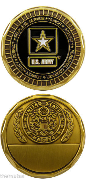 UNITED STATES ARMY ENGRAVABLE MILITARY STAR LOGO  CHALLENGE COIN