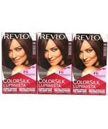 3 Revlon ColorSilk Luminista For Dark Hair 145 Burgundy Brown Permanent ... - $20.99